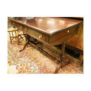 Colonial Revival Mahogany Two-Drawer Trestle Base Sofa Table.