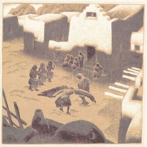 Gustave Baumann (German/American, 1881-1971)    An Eagle Ceremony At Tesuque Pueblo