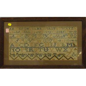 Framed 1845 Emely Hargadine Needlework Sampler
