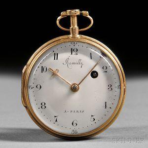 Romilly 18kt Gold Verge Pocket Watch