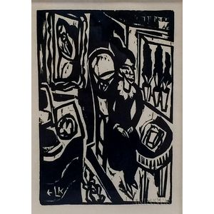 Ernst Ludwig Kirchner (German, 1880-1938)      Plate from Das Stiftsfräulein und der Tod