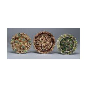 Three Staffordshire Lead Glazed Creamware Plates