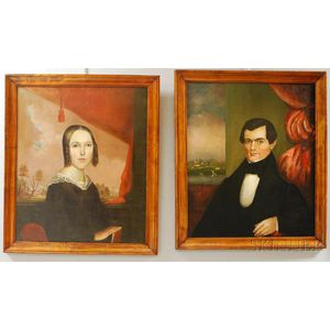 Pair of Framed Oil on Canvas Portraits