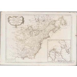 North American, East Coast, Newfoundland to the Carolinas. Jean Baptiste Bourguignon DAnville (1697-1782) Carte Generale du Canada, de
