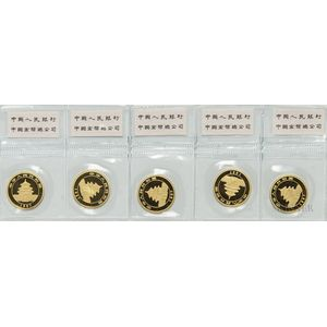 Sheet of Five 1997 Chinese 25 Yuan Large Date Gold Pandas.