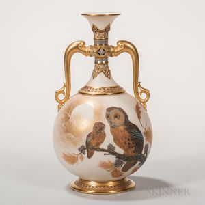 Royal Worcester Porcelain Ivory-ground Vase