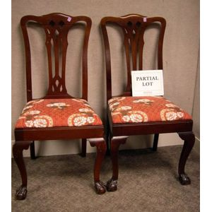 Set of Six Chippendale-style Carved Mahogany Dining Chairs.