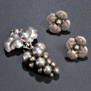 Georg Jensen Grapes Brooch and Earrings