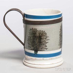 Mocha-decorated Whiteware Mug with Make-do Handle