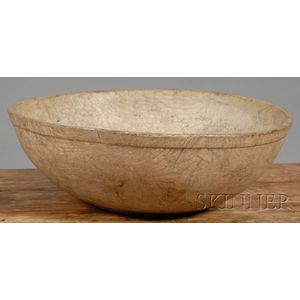 Large Round Turned Burl Bowl