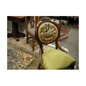 Needlepoint Upholstered Parlor Chair and a Set of Four Caned Seat Side Chairs.