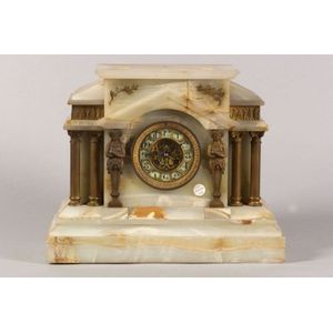 Onyx Temple-form Mantel Clock