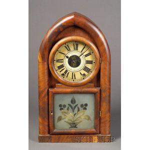 Mahogany Veneered Round Gothic Shelf Clock