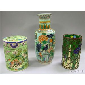 Chinese Enamel Decorated Porcelain Vase and Covered Jar and a Japanese   Bamboo-wrapped Pottery Vase