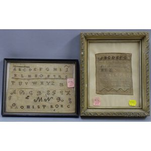 Two Framed Small Late 18th/19th Century Needlework Samplers
