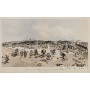 J.H. Buffords, lithographer, P.R. Stewart & Co., publisher      VIEW OF THE PUBLIC GARDEN & BOSTON COMMON FROM ARLINGTON ST.