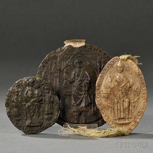 Ecclesiastical Wax Seals, Three, European, c. 1400-1600.