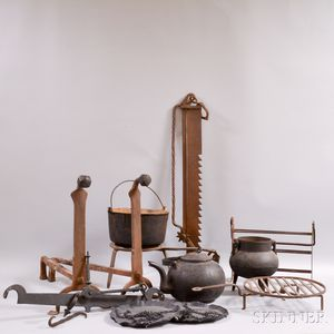 Ten Pieces of Wrought and Cast Iron Hearth Equipment