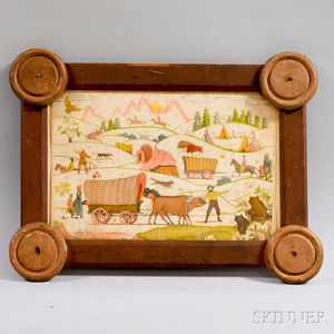 Watercolor Pioneer Scene in a Folk Art Frame