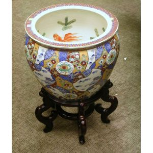 Modern Chinese Export Porcelain Fish Bowl on Hardwood Stand.