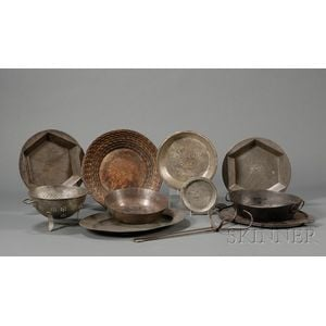 Group of Eleven Tin, Iron, and Pewter Kitchen Items