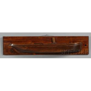 Carved and Mounted Pine Half Hull Model of a Steamship