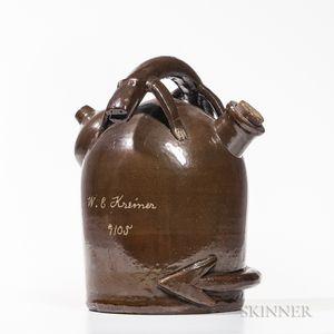 Glazed Stoneware Jug with Lizard Handle