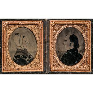 Pair of Ninth-plate Cased Ambrotype Photographs of Joseph H. Davis Watercolors