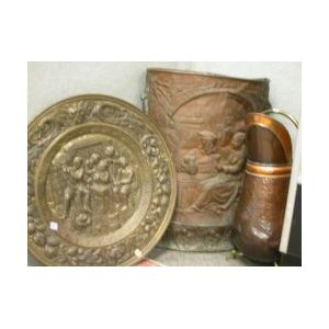 Dutch Repousse Brass Plaque, a Copper Stand and a Hammered Copper Coal Hod.