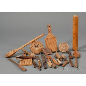 Twenty-six Assorted Mostly Wooden Kitchen Utensils