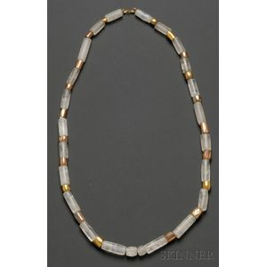 Pre-Columbian Rock Crystal and Gold Necklace