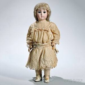 "Large Bébé Jumeau Triste or ""Long Face"" Bisque Head Doll"
