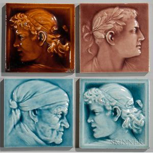 Four American Encaustic Tiling co. Art Pottery Tiles