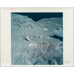 Apollo 17, Orange Soil on the Lunar Surface, Two Photographs, [and] Three Microscopic Views of Samples.