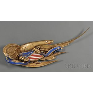 Carved, Gilded, and Painted Eagle Wall Plaque