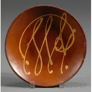 Slip Decorated Redware Plate