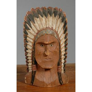 Carved and Painted Pine Figural Indian Bust