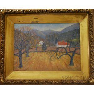 George Elmer Browne (American, 1871-1946)      Fall Landscape with Barn