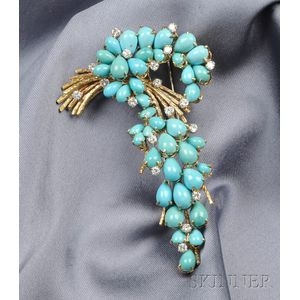 18kt Gold and Turquoise Diamond Spray Brooch