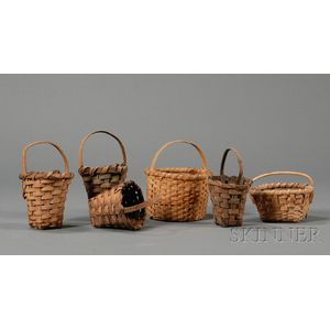 Six Small Woven Splint Handled Baskets