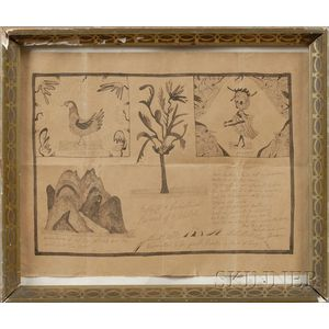 Framed Curious Sketches and Inscriptions in Ink