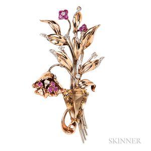 Retro 14kt Gold, Citrine, Ruby, and Diamond Flower Brooch