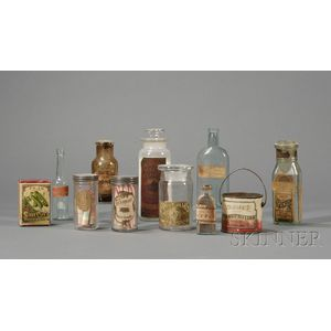 Nine Labeled Glass Bottles and Jars, a Peanut Butter Tin, and a Seed Box