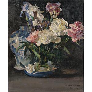 Edmund Charles Tarbell (American, 1862-1938)      Peonies and Iris
