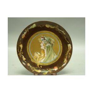 Art Nouveau Handpainted Portrait Decorated Limoges Porcelain Plate.