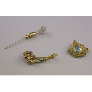 14kt White Gold Stickpin, Topaz and Gold Brooch, and a Double Pansy Enamel and Diamond Pin