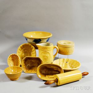 Ten Pieces of Yellowware Pottery