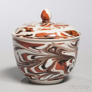 Pearlware Slip-marbled Sugar Bowl