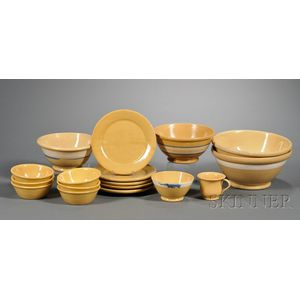 Seventeen Yellowware Pottery Items