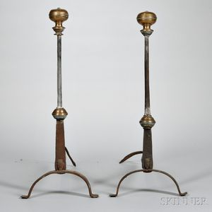 Pair of Wrought Iron and Brass Andirons